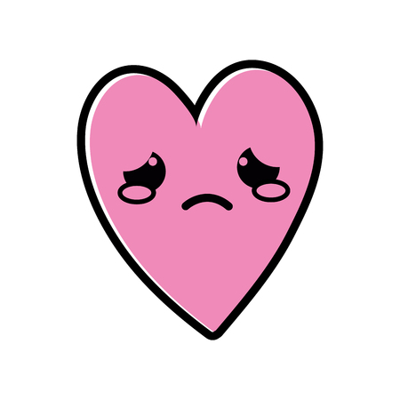 color cute crying heart  cartoon vector illustration