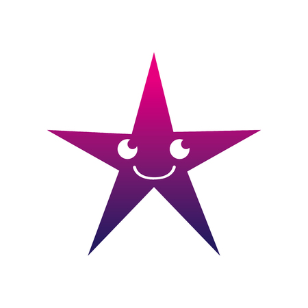 silhouette smile shiny star kawaii cartoon vector illustration