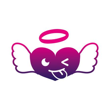 silhouette funny heart angel kawaii cartoon vector illustration Illustration