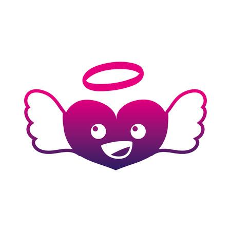 silhouette happy heart angel kawaii cartoon vector illustration Illustration