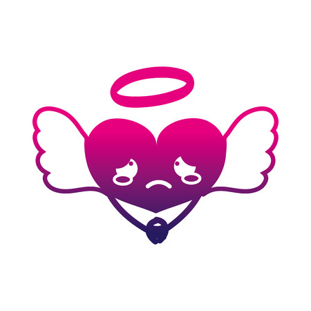 silhouette crying heart angel kawaii with arms vector illustration