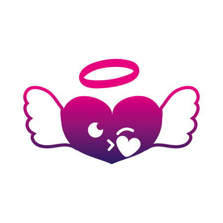 silhouet hart engel kus kawaii cartoon vector illustratie