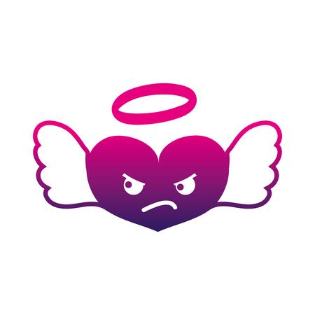 silhouette angry heart angel kawaii cartoon vector illustration