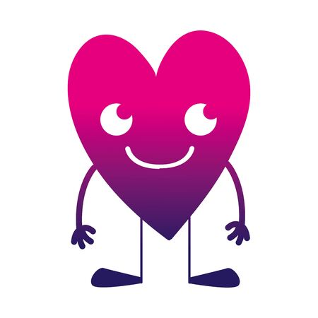 silhouette smile heart kawaii with arms and legs vector illustration
