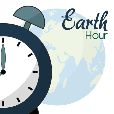 Clock and planet of earth hour world time and global theme Isolated design Vector illustration