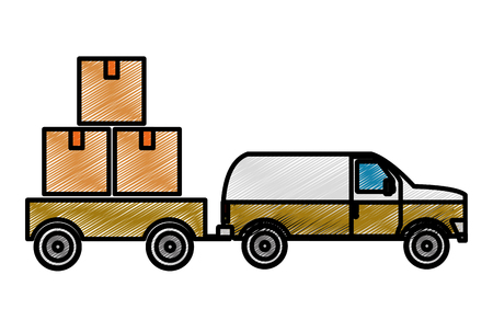 Boxes and truck design Vectores