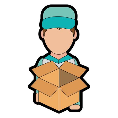 Box and man design