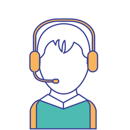 Call center man design with headset