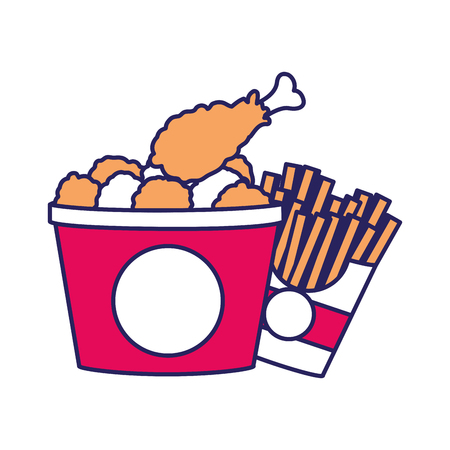 Chicken and fries of fast food urban and tasty menu theme Isolated design Vector illustration