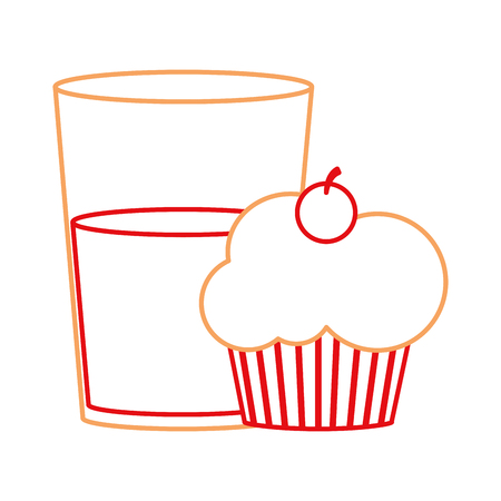Cupcake and drink in bakery theme isolated design vector illustration Illustration