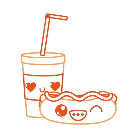 Hot dog and drink of fast food urban and tasty menu theme. Isolated design vector illustration. Illustration