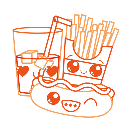 Hot dog drink and fries of fast food urban and tasty menu theme Isolated design Vector illustration.