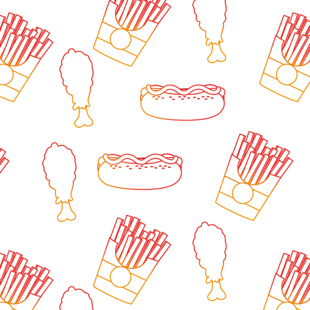 Hot dog fries and drink background of fast food urban and tasty menu theme Isolated design Vector illustration