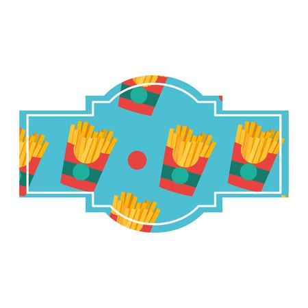 French fries label Vector illustration. Illustration