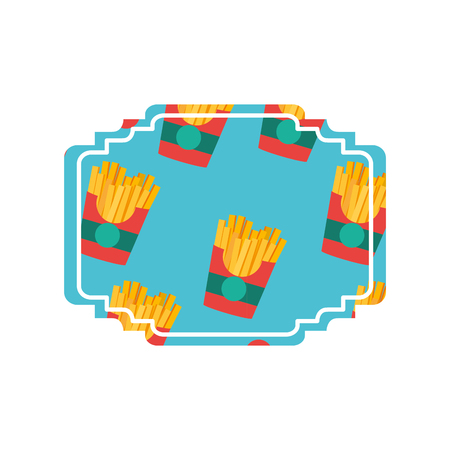 Fries label of fast food urban and tasty menu theme Isolated design Vector illustration. Vectores