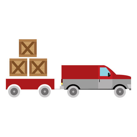 Box and truck of delivery shipping and logistics theme, Isolated design Vector illustration Vectores