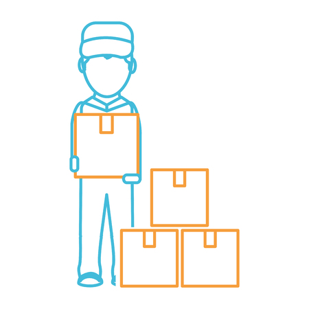 Box and man of delivery shipping and logistics theme Isolated design Vector illustration Vectores