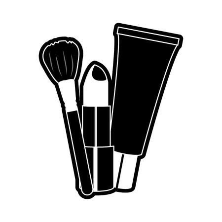 rouge à lèvres et brosse à dents des accessoires et le thème cosmétique isolé conception illustration vectorielle