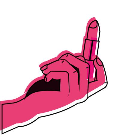 メイクアップアクセサリーや化粧品のテーマの口紅孤立したデザインベクトルイラスト  イラスト・ベクター素材