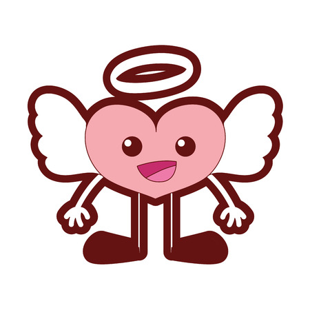 line color happy heart angel kawaii with arms and legs Illustration