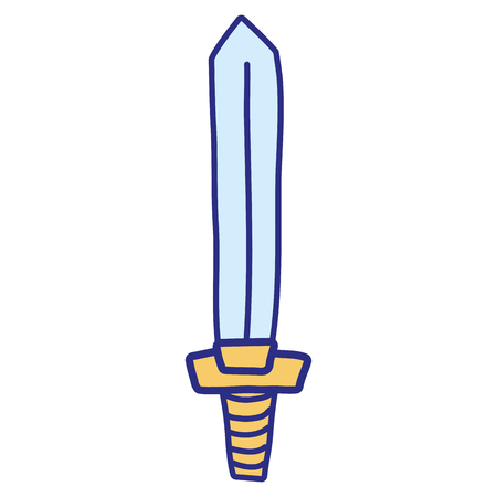Full color videogame sword object to war battle vector illustration. Illustration