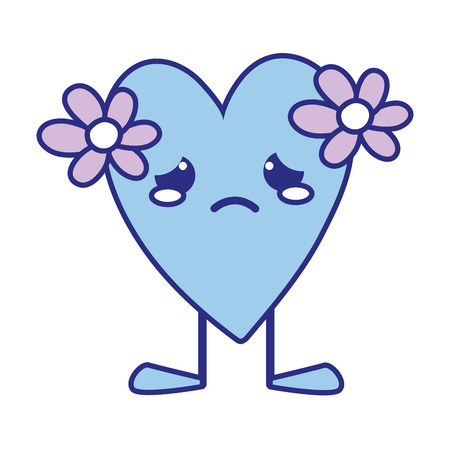full color crying heart with flowers kawaii and legs Illustration
