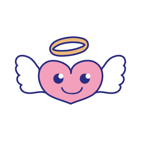 Full color smile heart angel kawaii cartoon vector illustration.