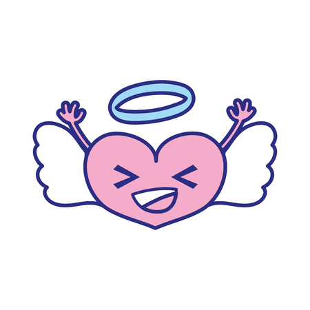 full color happy heart angel kawaii with arms vector illustration