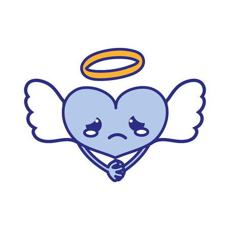full color crying heart angel kawaii with arms vector illustration Illustration