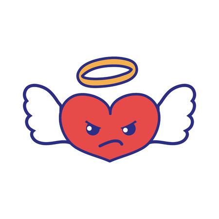 full color angry heart angel kawaii cartoon vector illustration