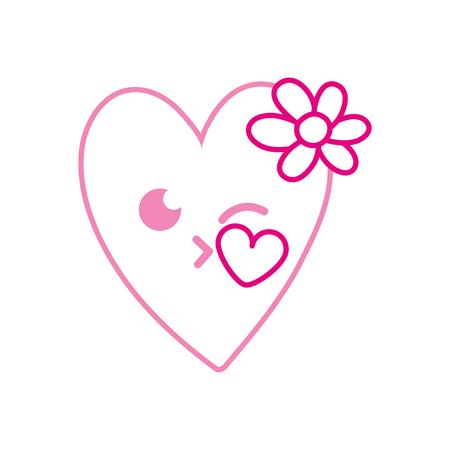 Color line kiss heart with flowers kawaii cartoon vector illustration.