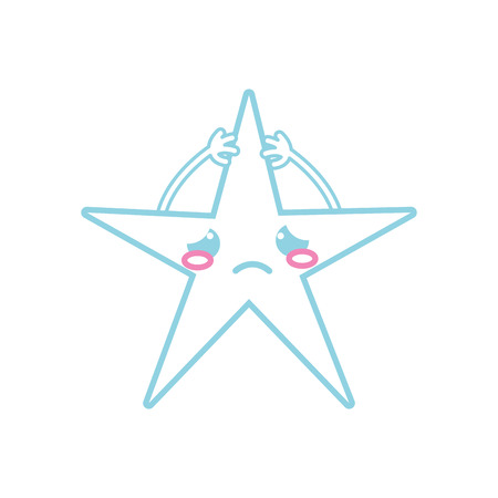 Colored line crying shiny star cartoon with arms vector illustration