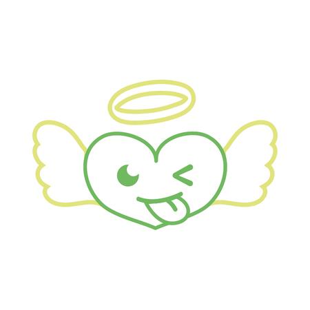 Color line funny heart angel kawaii cartoon vector illustration.