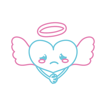 Color line crying heart angel kawaii with arms vector illustration.
