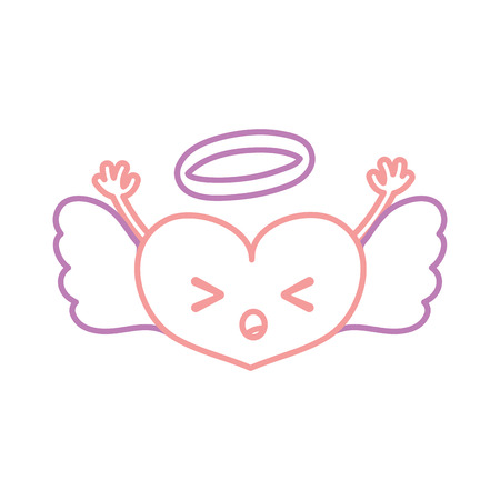 A color line sleeping heart angel kawaii with arms vector illustration