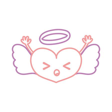A color line sleeping heart angel kawaii with arms vector illustration