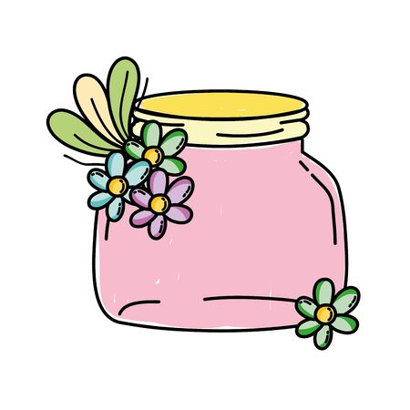 small mason glass with flowers and leaves vector illustration