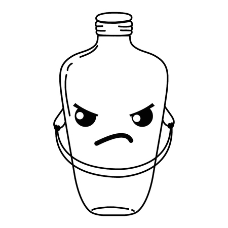 Line angry mason jar with wire handle vector illustration Illustration