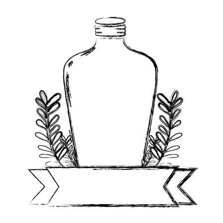 grunge long mason jar with branches and ribbon vector illustration Ilustração
