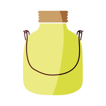 colorful small mason glass with wire handle vector illustration Illustration