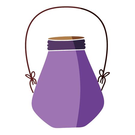 colorful small mason jar with wire handle vector illustration
