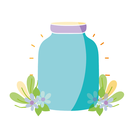 colorful middle mason glass with flowers and leaves vector illustration Illustration