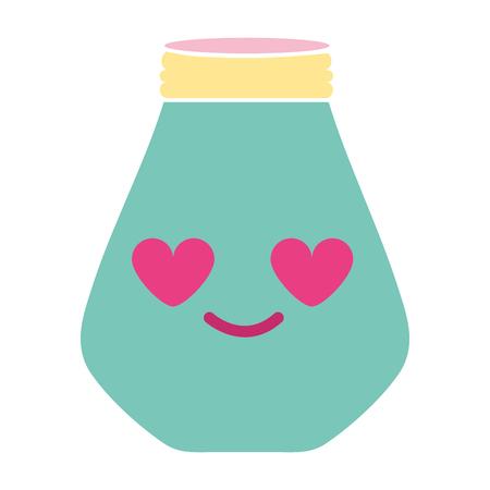colorful mason jar in love kawaii cartoon vector illustration Illustration
