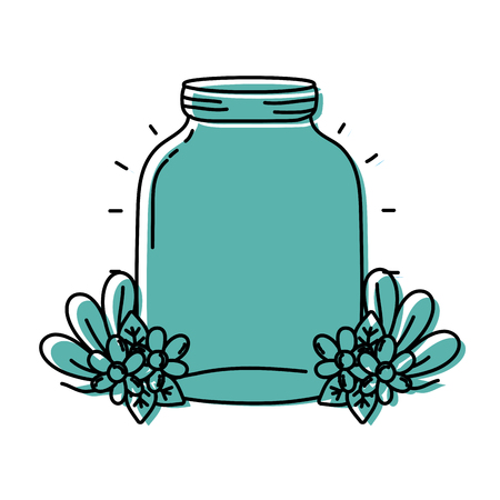 Color middle mason glass with flowers and leaves vector illustration.