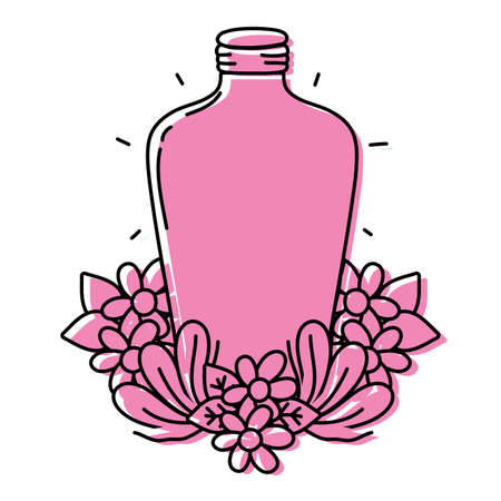 color long mason jar with flowers and leaves vector illustration