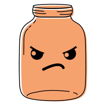colored angry mason glass kawaii cartoon Illustration
