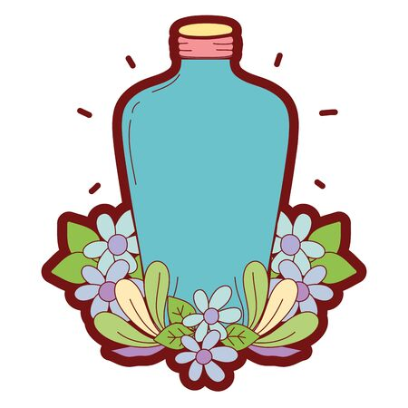 Line color long mason jar with flowers and leaves vector illustration.