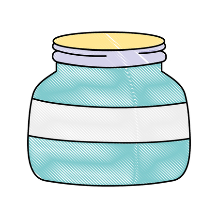 grated small and wide mason glass style vector illustration