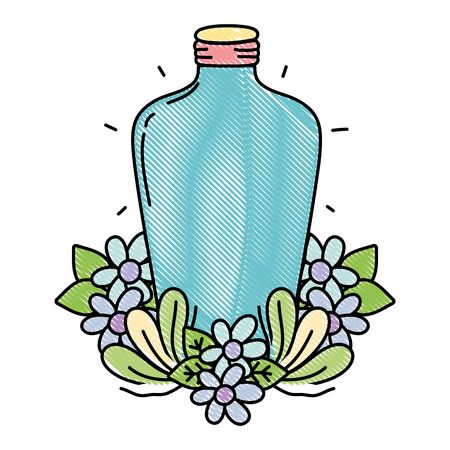 grated long mason jar with flowers and leaves vector illustration