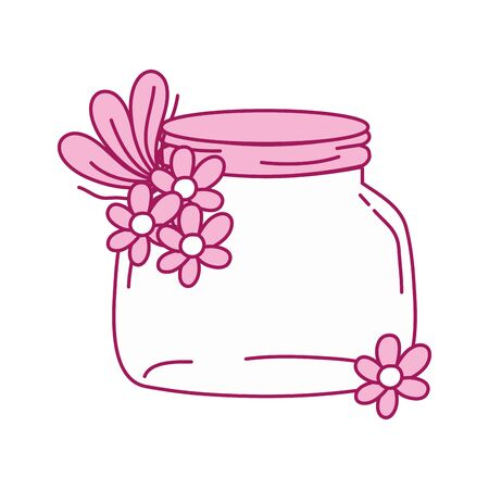 full color small mason glass with flowers and leaves Illustration